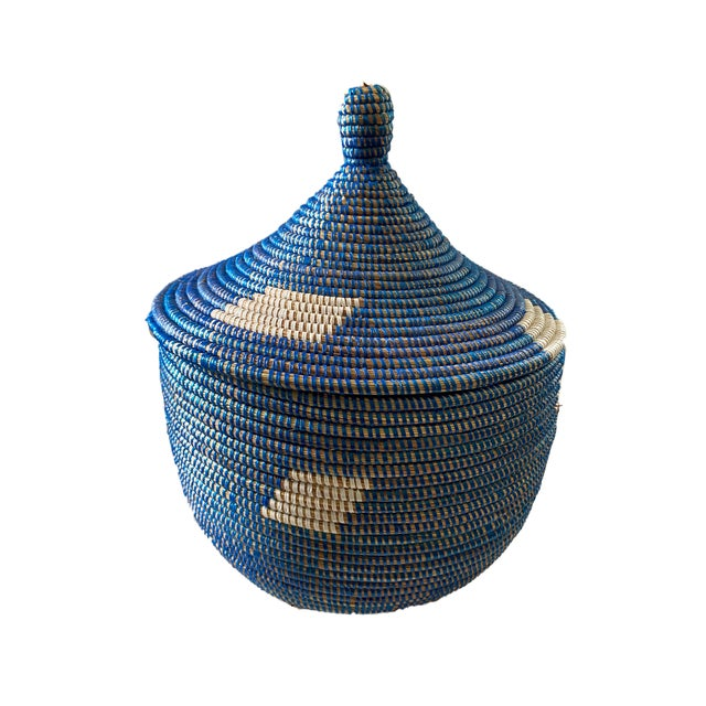 Superb Basket with Lid from Senegal West Africa, could be a laundry hampers /plant holder/decorative piece etc...and are...