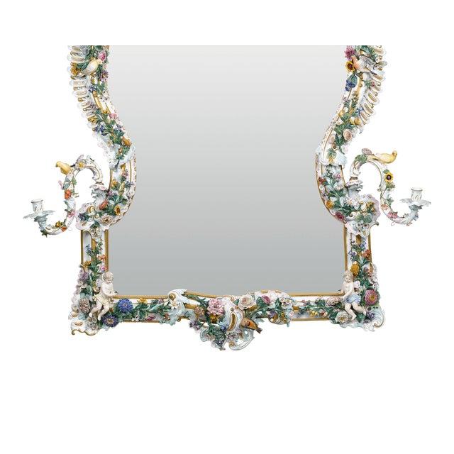 Meissen Porcelain MEISSEN PORCELAIN ROCOCO MIRROR For Sale - Image 4 of 10