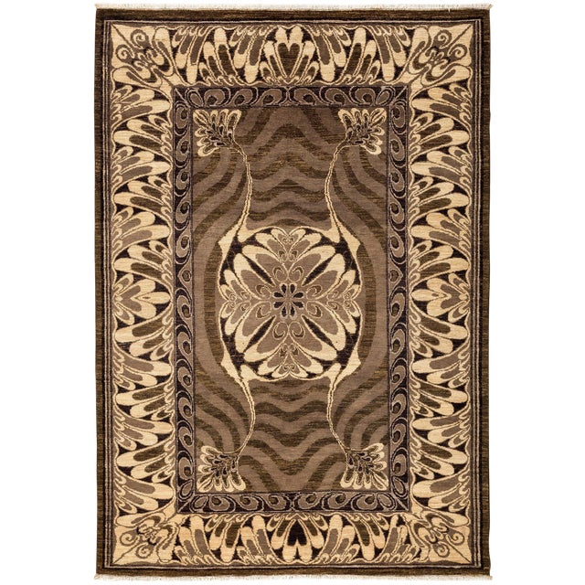 """Contemporary Hand Knotted Area Rug - 6' X 8'6"""" For Sale"""