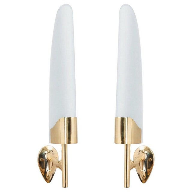 Metal Max Ingrand for Fontana Arte Long Sculptural Brass and Glass Midcentury Modern Sconces, Italy 1950s - a Pair For Sale - Image 7 of 7