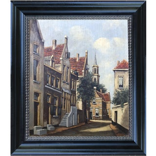 Vintage Dutch Street Scene Oil on Panel Painting For Sale