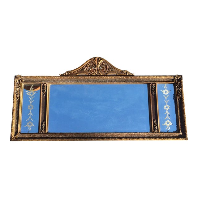 Antique Three-Pane Carved Wood Mantle Mirror - Image 1 of 11