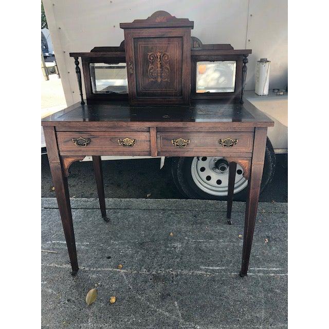 Animal Skin 19th Century Edwardian Rosewood Ladies Writing Desk For Sale - Image 7 of 7