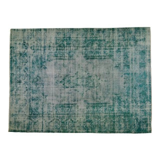 """1940s Persian Blue and Turquoise Wool Kerman Rug - 9'1""""x12'9"""" For Sale"""