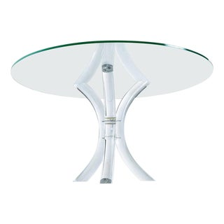 Lucite Tulip Tube and Glass Dining Table in the Style of Charles Hollis Jones For Sale