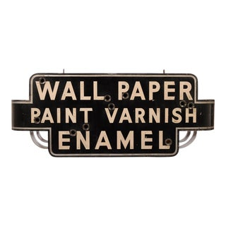 Paint, Varnish, Enamel and Wallpaper Antique Neon Sign Can For Sale
