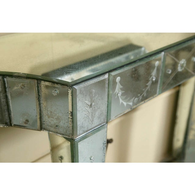 Etched Glass Mirrored Consoles - A Pair - Image 6 of 9