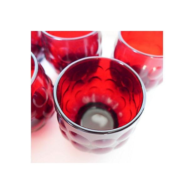 Mid-Century Ruby Red Glasses - Set of 8 - Image 6 of 8
