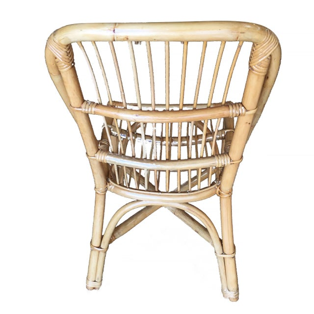 Restored Mid-Century Rattan Dining Side Chair W/ Stick Rattan Seat, Set of Six For Sale In Los Angeles - Image 6 of 7