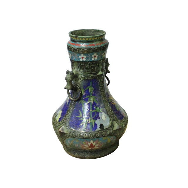 Chinese Metal Blue Enamel Cloisonne Flowers Theme Vase Display For Sale - Image 4 of 7