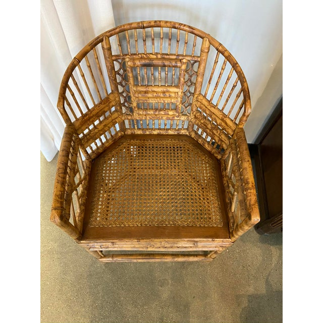 Late 20th Century Brighton Pavilion Style Chinoiserie Burnished Bamboo Armchair For Sale - Image 5 of 7