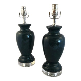 Early 1970's Vintage Custom Green Marbleized Ceramic on Crystal Table Lamps - a Pair For Sale