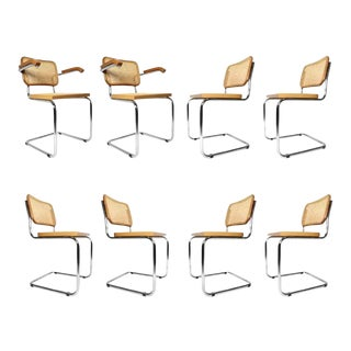 8 Vintage Marcel Breuer Style Blond Beechwood Chrome Cesca Dining Chairs For Sale