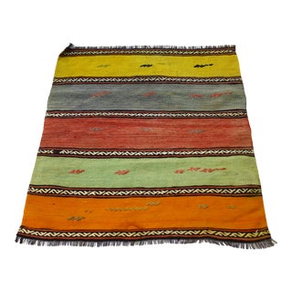 1960s Cabin Style Turkish Hand Knotted Striped Kilim Rug For Sale