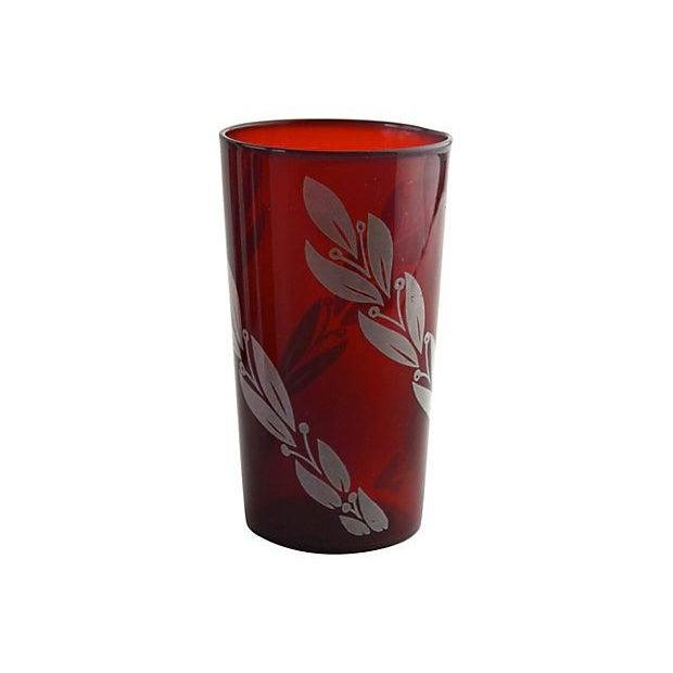 Mid-Century Crimson Tumblers - Set of 4 - Image 2 of 5