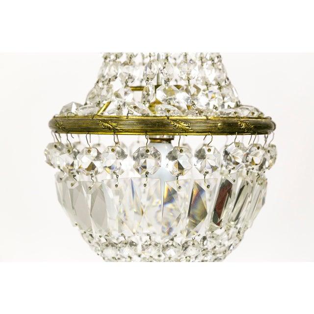 Metal Regency Petite Crystal Basket Chandeliers - a Pair For Sale - Image 7 of 10