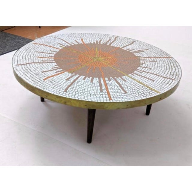 Brass Mid Century Modern Mosaic Coffee Table For Sale - Image 8 of 9