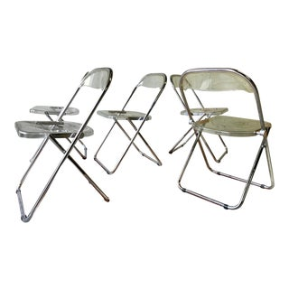 Mid Century Modern Plia Chairs by Giancarlo Piretti for Castelli, Set of 5 For Sale