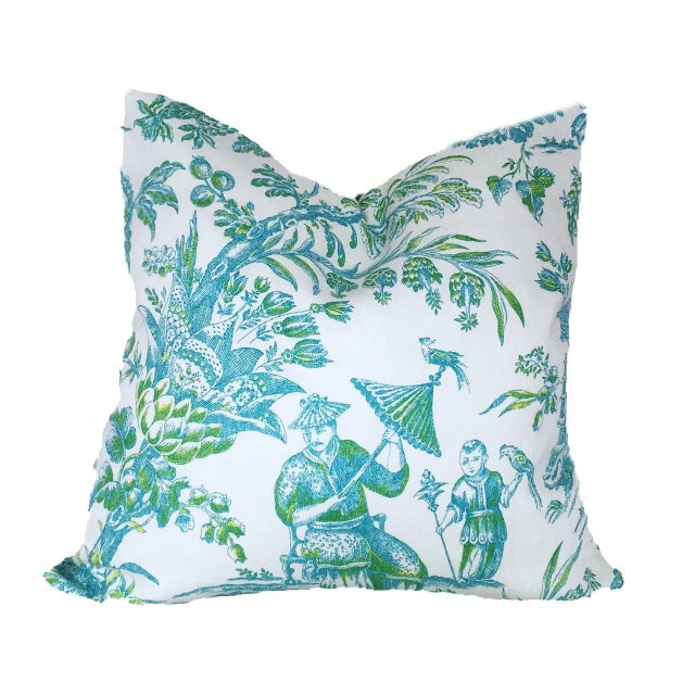 Asian Custom Aqua & Lime Chinoiserie Toile Pillow Cover For Sale - Image 3 of 3