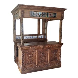English Victorian Style Carved Oak Canopy Bar W/ Stained Glass Panels C1940s For Sale
