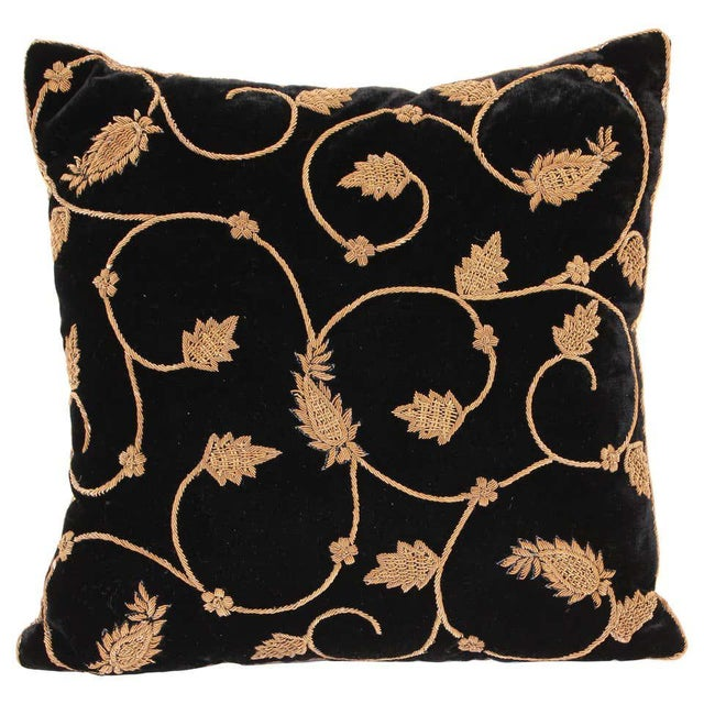 Black Silk Velvet Throw Pillow Embroidered with Gold Design For Sale - Image 11 of 11