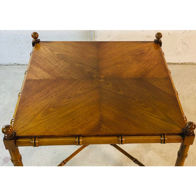 1960s Faux Bamboo Style Square Coffee Table For Sale - Image 10 of 13