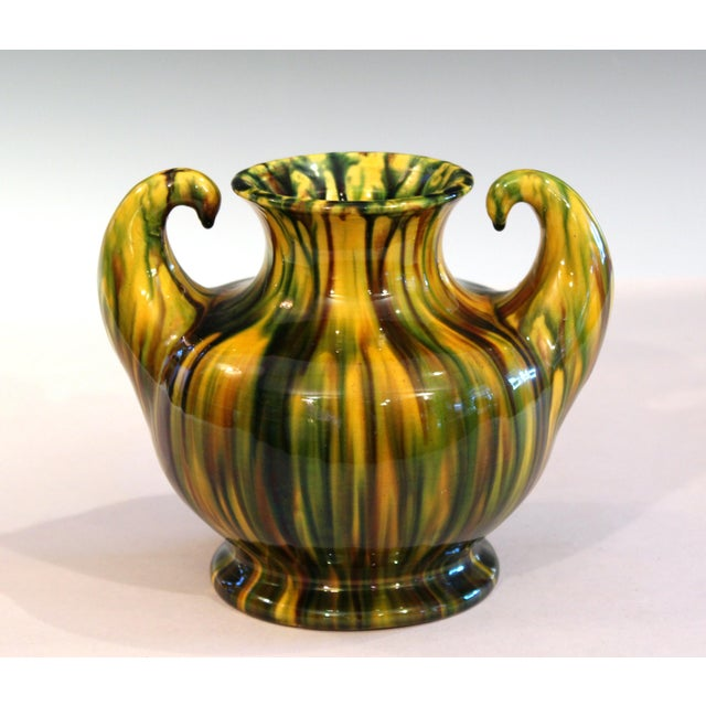 "Ceramic Awaji Vintage Japanese Studio Pottery Yellow Flambe"" Muscle"" Vase For Sale - Image 7 of 10"