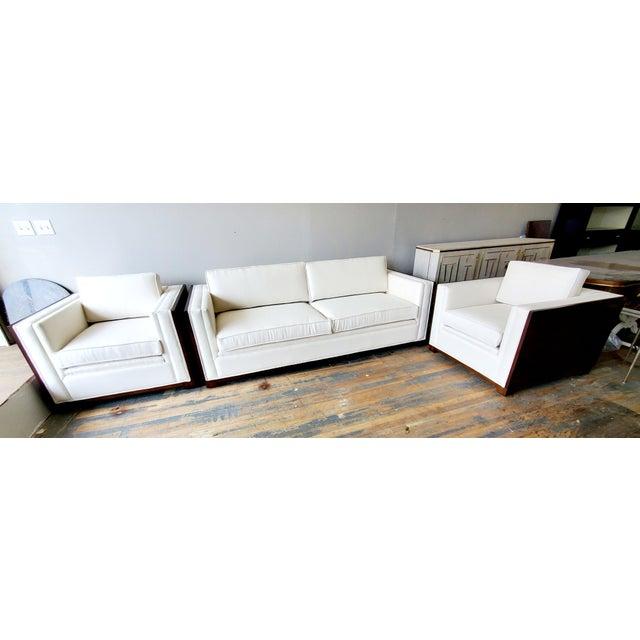 Wood Thomasville Furniture Ernest Hemingway Moncado Mahogany Art Deco Sofa For Sale - Image 7 of 10