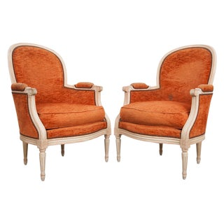 French 19th Century Painted Louis XVI Style Bergères- A Pair For Sale