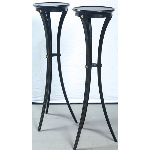 1940s Black Torchere Plant Stands - a Pair For Sale - Image 5 of 9