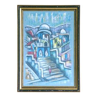 Mid-Century Modern Fauvist Bauhaus Cityscape Cubist Painting For Sale