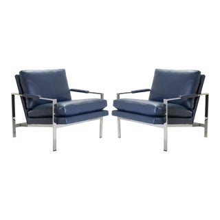 Flat-Bar Club Chairs in Navy Leather by Milo Baughman for Thayer Coggin For Sale