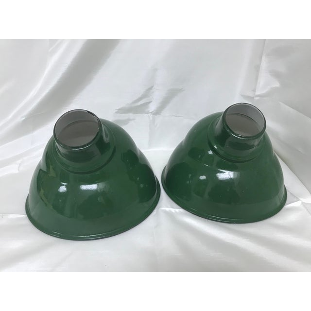Industrial 1960s Vintage Industrial Enamel Metal Elbow Light Shades - a Pair For Sale - Image 3 of 8