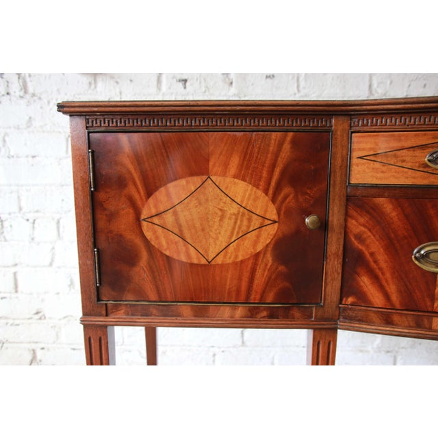 Brown Limbert Hepplewhite Style Inlaid Flame Mahogany Sideboard Buffet, Circa 1930s For Sale - Image 8 of 11