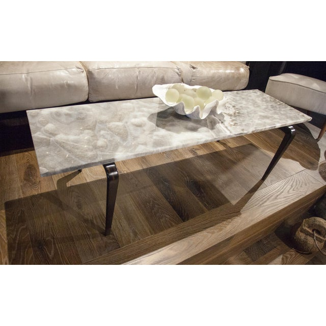 Custom Coffee Table with Onyx Top For Sale - Image 4 of 4