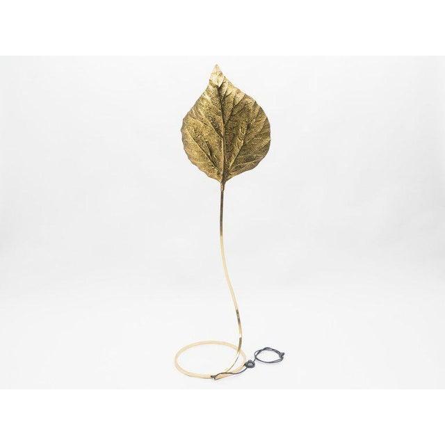 Gold Hollywood Regency Rhubarb Brass Floor Lamp Tommaso Barbi 1970s For Sale - Image 8 of 13