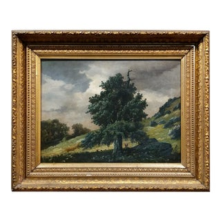 Lonely Cedar Tree on a Mountain Landscape -19th Century Oil Painting -C1860s