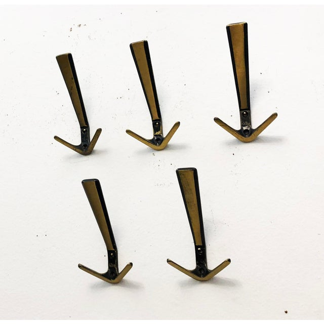 Brass Set of Five Coat Wall Hooks by Hertha Baller For Sale - Image 7 of 9