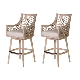 David Francis Mahogany Barstools - Set of 2