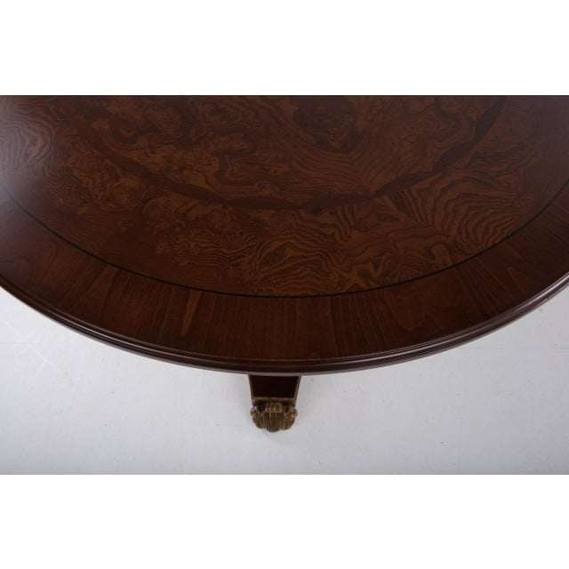 Brown Italian Center Table Pedestal Base Inlaid Mahogany Burl Gilt Italy 1970s For Sale - Image 8 of 13