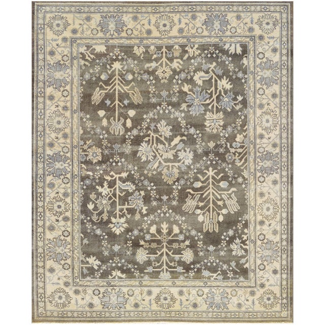 """Persian Mansour Genuine Handwoven Oushak Rug - 8'2"""" X 9'9"""" For Sale - Image 3 of 3"""