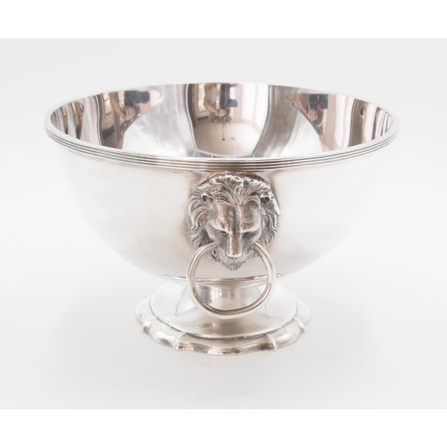 Traditional Reed & Barton Silver Plate Lion Heads Oval Pedestal Bowl For Sale - Image 3 of 7
