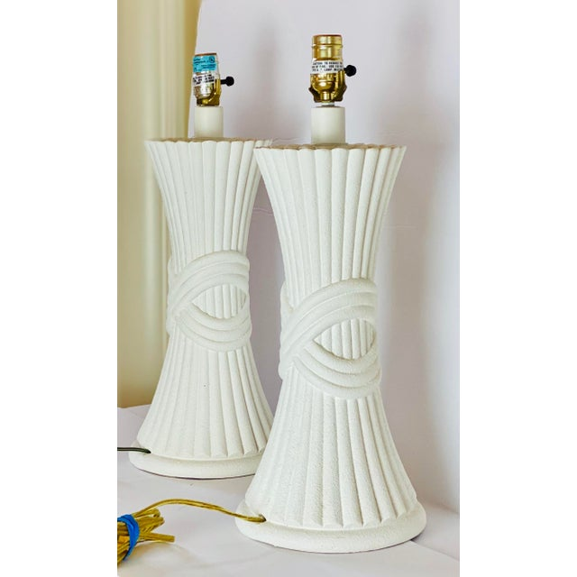 1970s Sculptural Plaster White Table Lamps - a Pair For Sale In Detroit - Image 6 of 8