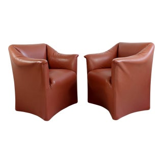 1970s Mid-Century Modern Bellini for Cassina Tentazione Leather Lounge Chairs - a Pair