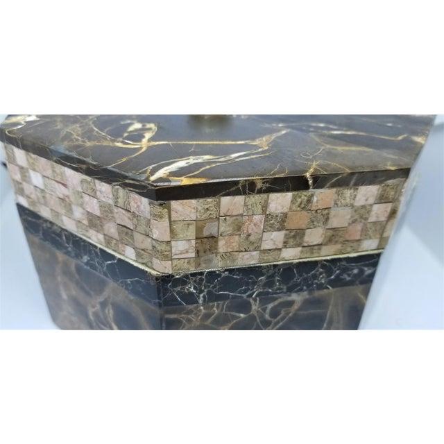 Vintage Maitland Smith Tessellated Italian Portoro Marble Box - Mid Century Modern Palm Beach Boho Chic Jewelry For Sale - Image 9 of 11