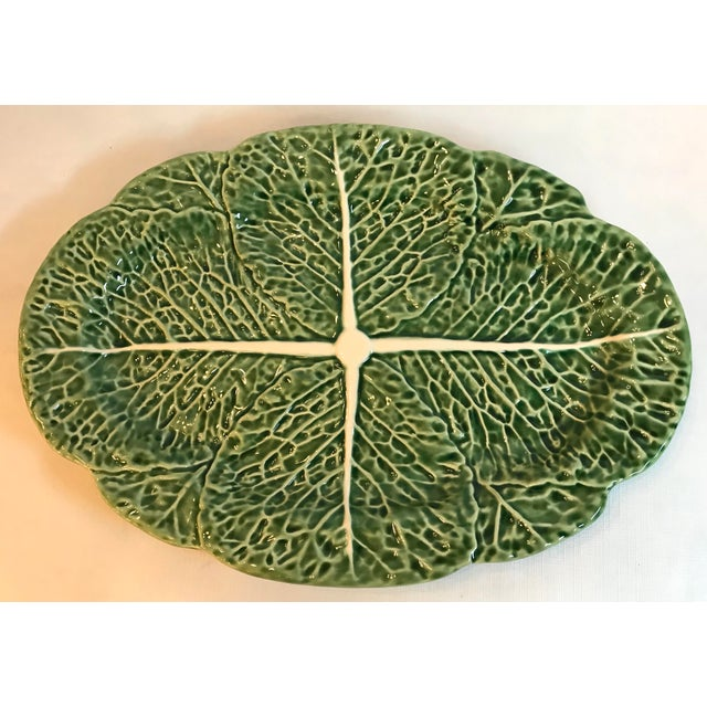 Beautiful Majolica Green Cabbage Platter from Portugal. Nice large size.