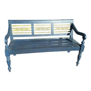 Indonesian Blue Teak Three Seater Bench