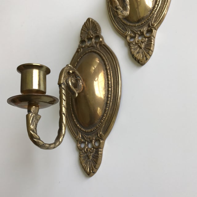 Vintage Brass Wall Sconces - A Pair - Image 4 of 7