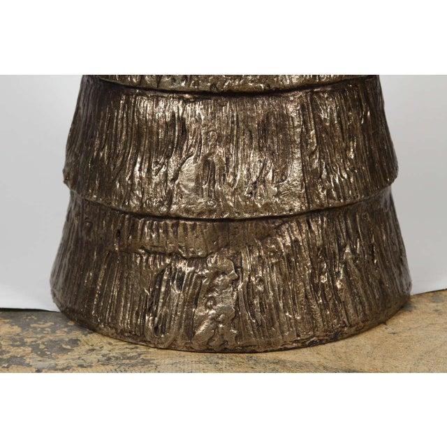 Metal Sculptural Brutalist Pedestal Style Table For Sale - Image 7 of 9
