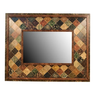 Bartoloni Marble Tile on Wood Frame Wall Mirror For Sale